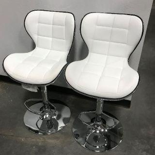 Bar Stools- White Leather Swivel