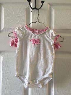 Koala baby white short sleeve body suit with pink checked butterfly and pink checker ruffle skirt set - size 3/6 months