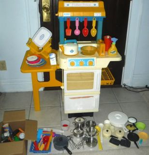 Vintage Fisher Price Play Kitchen w/Utensils Pots + Food Set