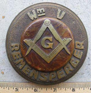 * ~ ~ ~ Marinship Masonic Club ~ ~ 1944 ~ ~ Bronze Paperweight ~ ~ ~ *