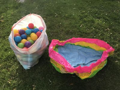 Plastic balls and blow up pit