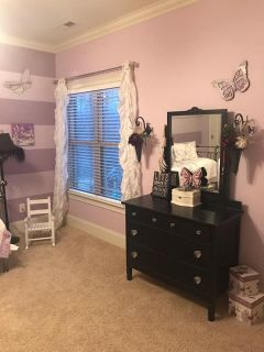 Antique Black Dresser with Mirror