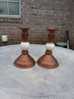 """Two 7""""copper and marble candle sticks"""