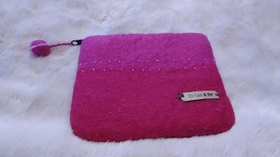 Pink hand felted change purse with zipper