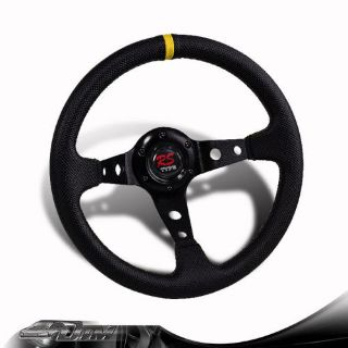 Sell JDM 350mm 6-Hole Black PVC Leather Yellow Ring Racing Steering Wheel For HONDA motorcycle in Rowland Heights, California, United States