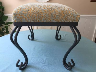 Pretty Metal and Fabric Foot Stool