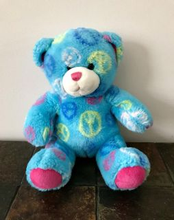 Blue Build a Bear Plush with Peace Signs