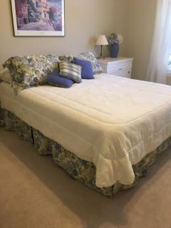 Queen size Bed skirt, curtains, pillow shams, and decorative pillows