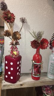 decorated bottles for Christmas $ 15 and $20 each