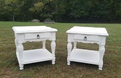 COUNTRY WHITE FARMSTYLE END TABLES / NIGHTSTANDS ($150 EACH)