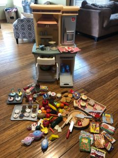 HUGE LOT-Step 2 Kitchen set and play food. Many Melissa & Doug sets included in lot.