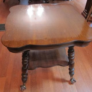 Antique Glass Ball Claw foot Parlor Table