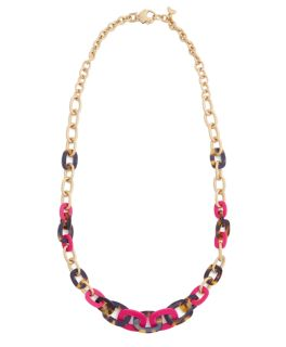 New Vineyard Vines Tortoise Pink Resin Link Necklace STYLE# 2A2567 {Retail $148}