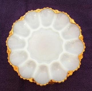 Vintage 1950s 60s Anchor Hocking or Fire King, White, milk glass with 22K gold trim, deviled egg serving plate. 12 egg slots and center