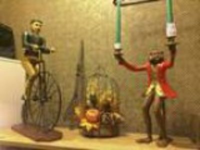Monkey Man Bicyclist Wood Carvings (Larchmont NY)