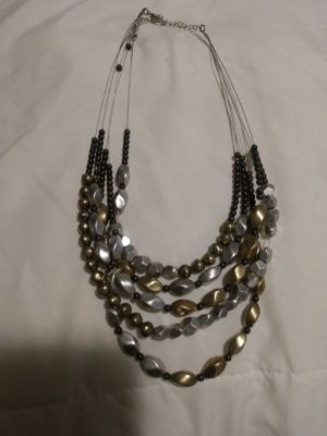 Mixed metals multi strand necklace