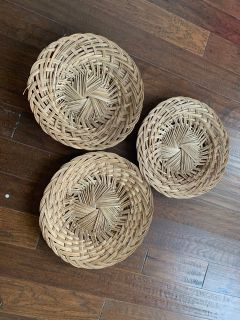 Large Vintage wicker chargers.