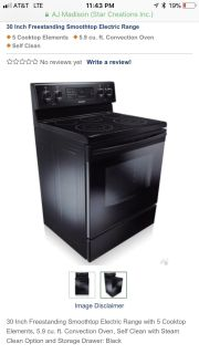 Black Samsung self cleaning 5 range smooth top stove in Excellent Condition with manual. 5.9 cubic feet
