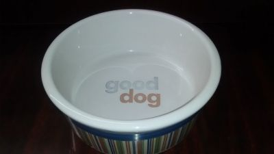 Signature Strip Good Dog Ceramic Bowl - Large
