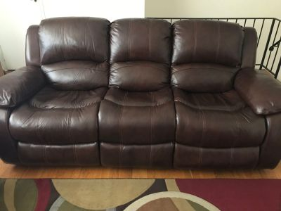 Leather Sofa - Recliner (like new) (Price Negotiable)