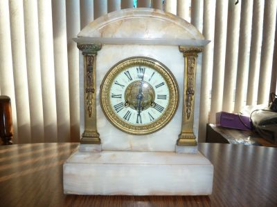 Antique 1855 French Vincenti Medaille Marble Gilt Bronze Clock porcelain dial