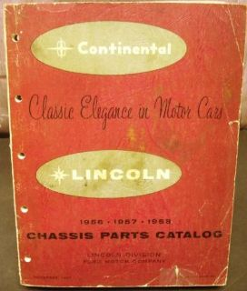 Find Original 1956-1958 Lincoln Chassis Parts Catalog Book Continental Mark II & III motorcycle in Holts Summit, Missouri, United States, for US $64.98