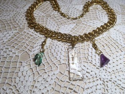 Necklace Repurposed Vintage Pieces Glass Crystal Prisms Large Gold Chain Much More Read Description
