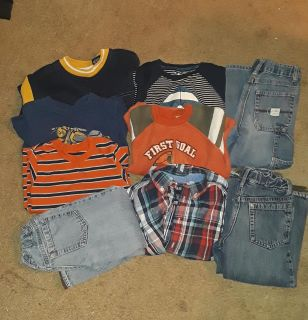 All size 4T. 6 long sleeve shirts and 3 pairs of pants.
