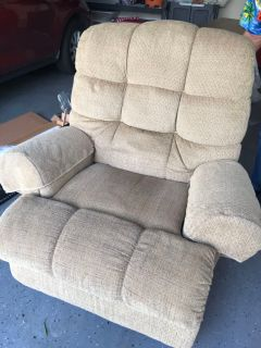 Very comfortable recliner good used condition custom upholstered only wear is in seat no holes or tears first to pick up