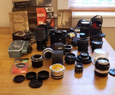 Vintage camera and lens collection