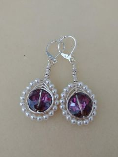 Handmade Swarovski Pearls with Crystal center stone and Sterling silver hooks