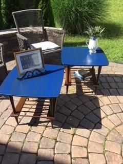 2 upcycled blue / brown painted and stained end tables