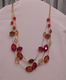 Avon 3 Strand Amber & Red Necklace