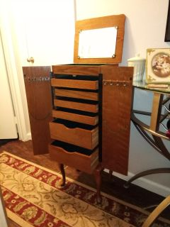 """Jewelry Armoire. Very large 40"""" high. Solid wood."""