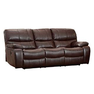 Chocolate Leather couch with 2 power recliners
