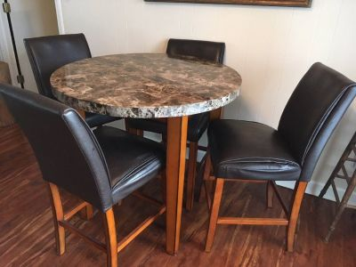 dining room table with 4 high chairs