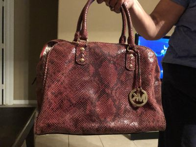 Authentic Michael Kors Red Snake skin pattern purse