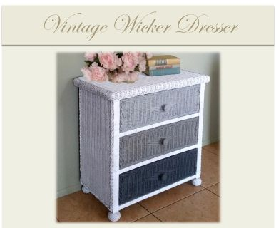 Vintage Wicker Ombre Dresser Side End Accent Table