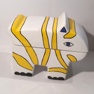 Vintage yellow white zebra jar