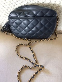 Navy quilted faux leather handbag