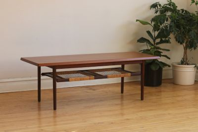 Mid Century Danish Teak and Rattan Coffee Table