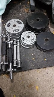 """1"""" Weight Plates + Dumbbell Handles"""