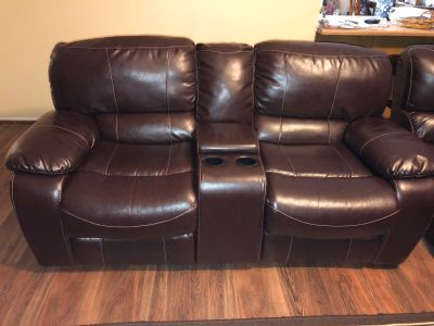 Leather 2 Recline Electric Sofa with Wedge (Both Recline)