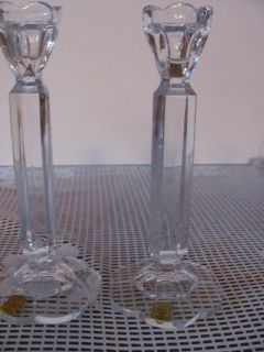 HAND CUT CRYSTAL CANDLE HOLDERS (PAIR)