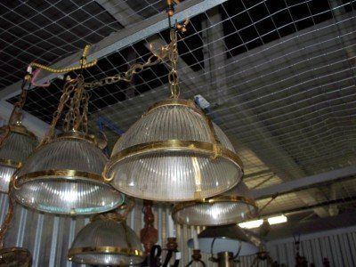 Vintage Hanging lights ribbed glass brass accents