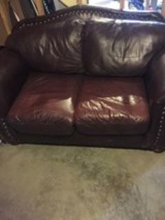 Brown leather loveseat & couch