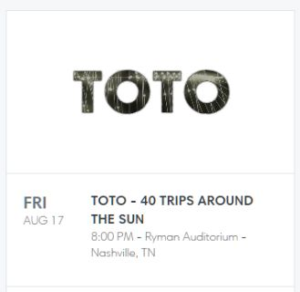 TOTO Ticket (1) for AUG 17th at the Rhyman