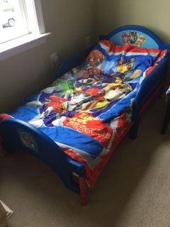 Paw Patrol toddler bed + mattress and bedding