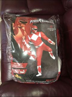 Brand New Power Ranger Red Ranger Costume, Fits Large - Extra Large Halloween