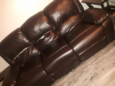Brown leather couch recliner's